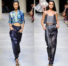 Leonard Paris 2015 Spring Summer Womens Runway Catwalk Looks - Mode à Paris Fashion Week Prêt-à-Porter Mode Féminin Femme France - Denim Jeans Embroidery Lace Jumpsuit Tiered Gown Patchwork Crop Top Midriff Bandeau Abstract Print Balloon Pockets Flowers Florals Drapery Shorts Kimono Wrap Ribbon Sash Waist Wrung Top Silk Coatdress Sheer Chiffon One Shoulder Maxi Dress Wide Leg Palazzo Pants Trousers