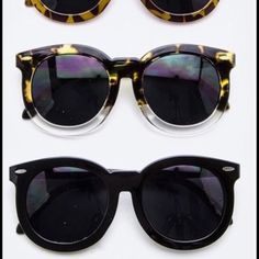 Trendy tortoise shell & black sunglasses  Brand new, retail item. I have two styles left here (from top to bottom). Tortoise shell, tortoise shell/clear, and all black. ❤️ Trendy tortoise shell, clear & black sunglasses  Boutique Accessories Sunglasses