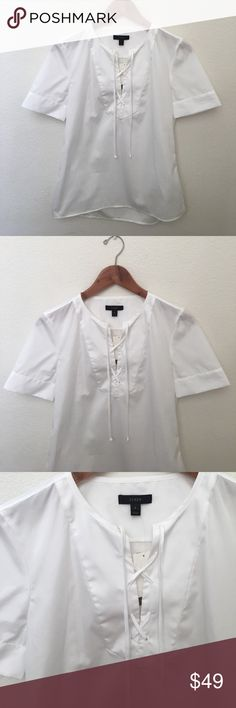 """{J.Crew} Cotton Lace Up Top NWT J.Crew White Lace Up Top. 100% Cotton. Size 6. Length 23"""" From Collar Down, 1 1/2"""" Longer in the back. 2"""" Side Slits, Chest 19"""" Flat Across, Sleeve Length 9"""", Sleeve Opening 6 1/8"""" Flat Across w/ 2 Side Buttons. J. Crew Tops"""