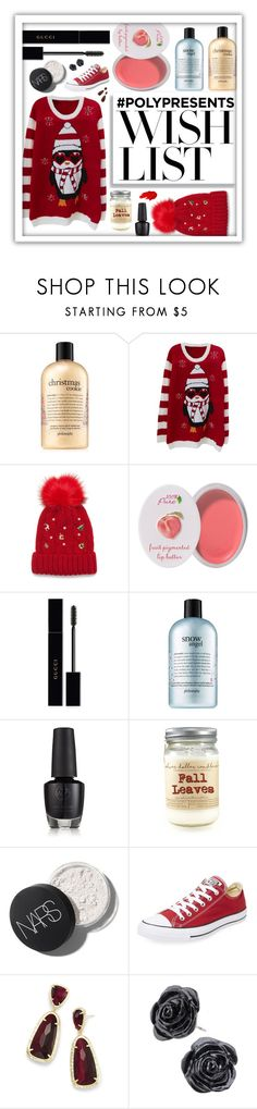 """""""#PolyPresents: Wish List"""" by beanpod ❤ liked on Polyvore featuring philosophy, Collection XIIX, 100% Pure, Gucci, Converse, Kendra Scott, Maybelline, contestentry and polyPresents"""