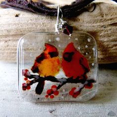 Fused glass pendants from Art of the Moment.