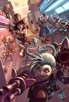 Chillout :: Caitlyn on the case :: League of Legends fanart :: Piltover :: Caitlyn, Heimerdinger, Jayce, Jinx, Orianna, Vi, and Ziggs.
