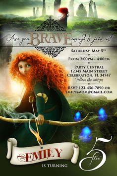 Brave Merida 1 Birthday Party invitation by PartyDesignsDIY