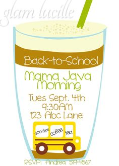 Back to School Coffee Party Invitation by glamlucille on Etsy, $8.00