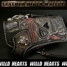 Leather Biker Wallet Skull carved WILD HEARTS/ワイルドハーツ