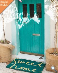 "Loving this ""Sweet Home"" turquoise doormat- perfect for Spring!  entryway. doormat.  spring colors. home improvement.  exterior design."