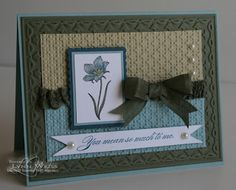 By Lynn Weiss. Square Lattice and Framed Tulips embossing folders from Stampin' Up.