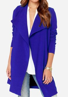Love this Color Blue! Love this Design! Sapphire Blue Plain Long Sleeve Dacron Trench Coat