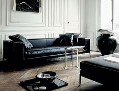Living Room, Black And White Living Room Color Scheme With Laminate Flooring Ideas Black And White Living Room Design Ideas And Small Coffe Table Plus Small Glass Window Black Sofa Design And Cushion: Create Simple Living Room Design Idea Black Leather Sofa Living Room, Black Couches, Black Leather Sofas, Black Sofa, Leather Couches, Leather Lounge, Leather Wall, White Leather, Living Room Sofa