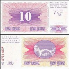 1993 P 34 a BOSNIA SET 2 PCS 100,000 DINARA 1992 b UNC