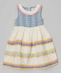 Look what I found on #zulily! Poco & Picotine Apricot & Blue Flower Tiered Dress - Girls by Poco & Picotine #zulilyfinds