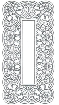 haft richelieu // Ubrus obdélník richelieu, 97 x 48 cm Cutwork Embroidery, Embroidery Stitches, Embroidery Patterns, Machine Embroidery, Crochet Patterns, Colouring Pages, Coloring Books, Metal Embossing, Wood Burning Patterns