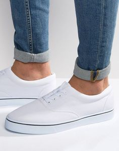 ASOS Lace Up Sneakers In White - White