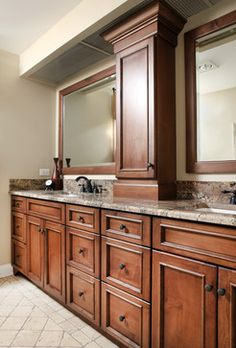Gorgeous Traditional dual bathroom vanities designed by Normandy Remodeling