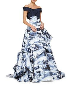 Carolina Herrera | Cloud Jacquard Asymmetric Ruffle Gown $8990