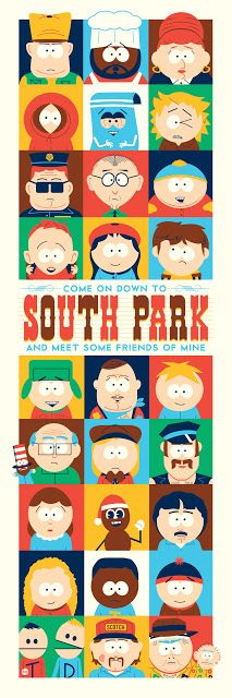 'Come On Down To South Park And Meet Some Friends Of Mine' by Dave Perillo Adult Cartoons, Funny Cartoons, Anime Chibi, Aliens, Billy Mandy, American Dad, Comedy Central, Cartoon Shows, Cultura Pop