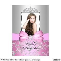 Pretty Pink Silver Bow & Tiara Quinceanera 5x7 Paper Invitation Card