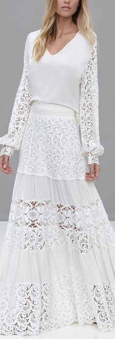 Crochet lace gown