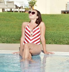 One piece stripe swimsuit, white and red swimsuit