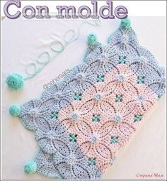 Crochet blanket- wish there was a pattern for this! Crochet Motifs, Crochet Chart, Crochet Squares, Crochet Blanket Patterns, Baby Blanket Crochet, Crochet Stitches, Free Crochet, Knitting Patterns, Knit Crochet