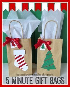 Christmas Gifts - CTMH Close to My Heart Art Philosophy 5 Minute Holiday Christmas Gift Bags Christmas Gift Bags, Christmas Gift Wrapping, Christmas Paper, Christmas Crafts For Kids, Holiday Gifts, Christmas Holidays, Diy Gifts For Kids, Craft Gifts, Decorated Gift Bags