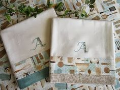Miss Abigail's Hope Chest: Monogrammed Dishtowels -- I love these!  I've used the Sew4Home pattern she mentions for the fabric trim, many times and it is great.  Never thought of adding a monogram, but what a fun idea!