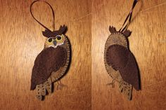 Great Horned Owl felt ornament pattern and tutorial from downeastthunderfarm.com #freeprintables #owl #felt #DIYornament   Just one of quite a few bird and animal patterns from Susan. Cute stuff.   http://www.downeastthunderfarm.com/2012/02/felt-great-horned-owl-ornament/  great horned owl pattern: http://downeastthunderfarm.com/wp-content/uploads/2012/02/great-horned-owl-pattern.pdf  Free felt patterns #fall