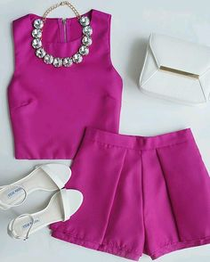 magenta two piece outfit Fashion Mode, Love Fashion, Womens Fashion, Fashion Trends, Spring Summer Fashion, Spring Outfits, Spring 2015, Dope Outfits, Fashion Outfits