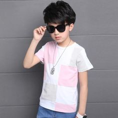 Tops for Boys O-neck Cotton Short Sleeve T-shirts Children Summer Plaid Tees Kids Big Size Clothes 14 Years Infant Boys T Shirts  #Boys #children #accessories #kidsfashionbook #instakids #trendykiddies #childrenfashion #stylekids #apparel #kidsstylezz