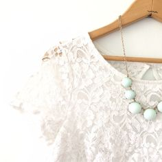 ✨HP!✨ Listing! Lace keyhole spring top How cute is this top!?! So classy yet fun and spring ready! Wear this tucked into a midi or high waisted denim shorts. Fully lined except for the top half of the back surrounding the key hole. Bust 18 inches. Length 21 1/2 inches.✨SPRING TRENDS PARTY HOST PICK 3/21/16!!✨ Forever 21 Tops Blouses