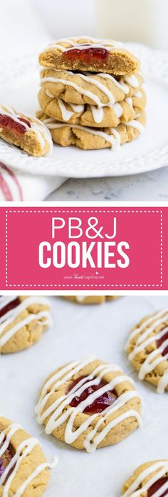 Peanut butter and jelly thumbprint cookies - the most delicious peanut butter cookie topped with strawberry jam and a vanilla glaze. These will soon become your new favorite cookie! #EasyRecipes #thumbprintcookies #cookies #desserts