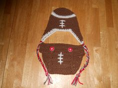 Crochet football Hat and Diaper Cover.