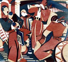 Lill Tschudi (Swiss Rumba Band II linocut printed in blue, red and beige on white oriental laid paper 29 x 32 cm Linocut Prints, Art Prints, Lawrence Lee, Linoprint, African American Art, Red Aesthetic, Woodblock Print, Wood Print, Printmaking
