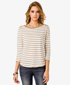 Brenton Striped Top | LOVE21 - $10.80  stripes, boatneck, color