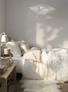 cozy white bedroom with hanging lamp art http://www.ikea.com/us/en/catalog/products/30139623/