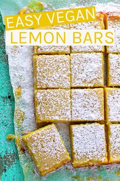 These vegan Lemon Bars are made with a buttery shortbread crust and filled with an easy Meyer lemon curd for the perfect sweet and sour treat. #vegan #lemonbars #veganrecipes #vegandesserts
