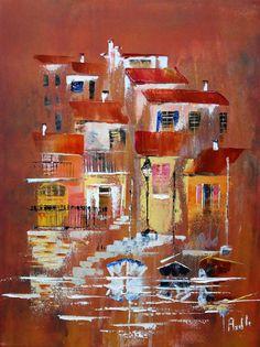 Tableau d'un petit village au bord de l'eau @peintures-axelle-bosler : Peintures par peintures-axelle-bosler