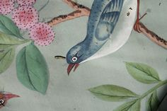 Antiques Online, Selling Antiques, Pine Trim, Green Ground, Chinoiserie Wallpaper, Koi Carp, Flowering Shrubs, Small Birds, How Beautiful