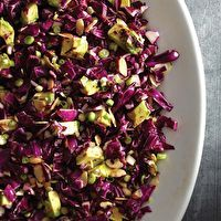 Five-Spice Red Cabbage Salad by Laura B. Russell - red cabbage, mirin, salt, five spice powder, olive oil, green onions, avocado, sliced almonds