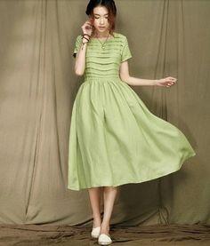 Green Temperament skirt Senior fabric dress by prettyforest22, $75.00