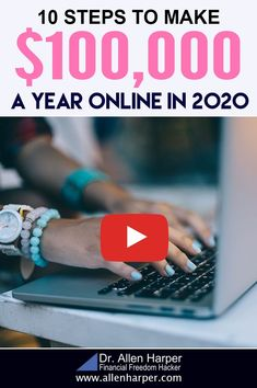 Are you ready to secure your financial future? In this video, I'll walk you through a step by step blueprint to make $100,000 per year online in 2020. Don't rely on your job that isn't guaranteed during these uncertain times. Secure your own financial freedom by making money online and making passive income. Make Money From Home, Way To Make Money, Make Money Online, Passive Income Sources, Legitimate Work From Home, Making 10, How To Find Out, How To Make, Affiliate Marketing