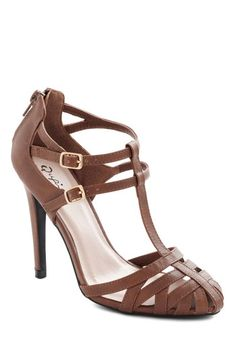 All the Hype Heel - High, Faux Leather, Tan, Solid, Party, Graduation, Good, T-Strap, Cutout, Wedding
