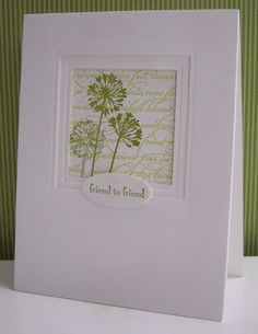 Clean and simple and stunning card from Stamping with Loll: Agapanthus in Green ...  luv the recessed framing layers ... understated elegance ...