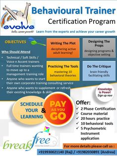Behavioural Training Certification Program - a foundation program for anyone interested in a career in behavioural training. One on one training, coaching and feedback with options to schedule your learning and select the modules that you are interested in.