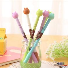 4pcs/lot 0.38mm Brown Bear Gel Ink Pen Promotional Gift Stationery School & Office Supply #Affiliate