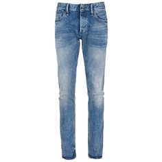 Denham 'Cross' carrot fit jeans ($200) ❤ liked on Polyvore featuring men's fashion, men's clothing, men's jeans, men, bottoms, guys, jeans, pants, blue and mens light wash jeans