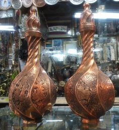 Pair of Fine Persian Engraving on Copper Vase - Collectible