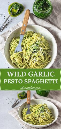 A real spring treat! This Wild Garlic Pesto Spaghetti is a quick comfort meal, ready in just 15 minutes! This dish is Dairy-Free & Vegan. #pasta #wildgarlic #pesto #recipe #spaghetti