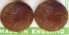 2.3cm 1940s Bakelite Interlocking Thread Buttons -12 on Display Card