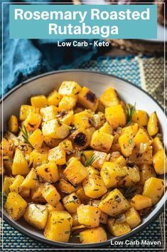 Roasted Rutabaga with rosemary and onions - a great low carb potato sub! via Roasted Rutabaga with rosemary and onions - a great low carb potato sub! via Low Carb Maven Rutabaga Recipes, Turnip Recipes, Vegetable Recipes, Vegetarian Recipes, Swede Recipes, Rosemary Recipes, Low Carb Side Dishes, Side Dish Recipes, Low Carb Recipes